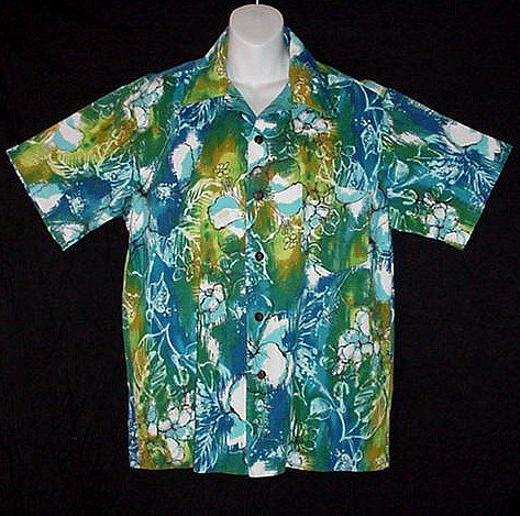 HAWAIIAN SHIRT Vintage ALOHA Floral HORIZONTAL BUTTONHOLES Awesome ATOMIC HAWAII Print Men's M!