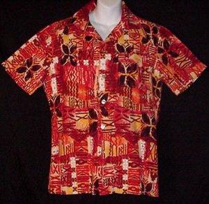 HAWAIIAN SHIRT Vintage 60's ALOHA Tiki HORIZONTAL BUTTONHOLES Tribal HAWAII Print Men's S~M!