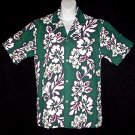 VLV VINTAGE 70s HAWAIIAN SHIRT Vertical Floral MADE in HAWAII with BOLD HIBISCUS Print Men's S!