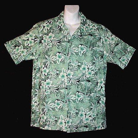 HAWAIIAN SHIRT Vintage 70's VLV ALOHA Island MADE in HAWAII Cool Green FLORAL Print Men's L!
