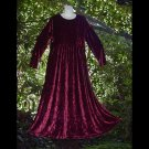 GORGEOUS Bohemian Dress Elegant BERRY WINE VELVET Hippie Boho LONG and SWEEPING Gown Size 12/M/L!