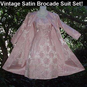 STUNNING PINK SATIN BROCADE 60's Set VINTAGE JACKIE O Suit WIGGLE DRESS w/COAT JACKET Mad Men 2/4-S!