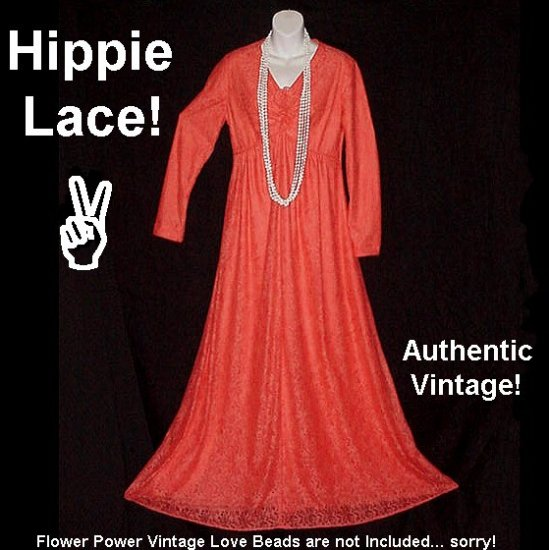 TANGERINE DREAM Fairy Hippie VINTAGE Maxi DRESS Woodstock BOHEMIAN FLORAL LACE Long SWEEPING Sz M-L!