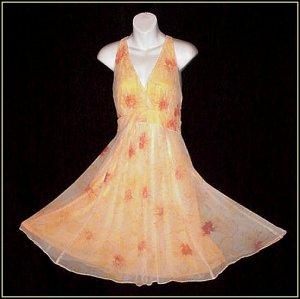 SUNNY FLORAL Drama DRAPE 60's Vintage Dress VLV HAWAIIAN HALTER Style CHIFFON Overlay SWEEP S-M!