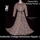 PAISLEY FLORAL Vintage Hippie Maxi Dress LEGIT Umba Parues Feinstein Gown BOHEMIAN BABE SWEEP-M/L