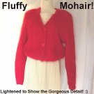 FLUFFY MOHAIR Vintage Sweater Cropped LIPSTICK RED Huge Gorgeous Buttons STUNNING and FESTIVE Sz L!