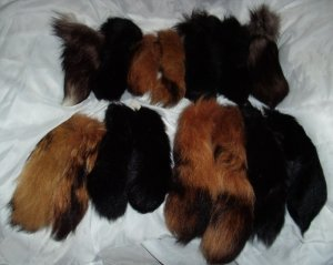GENUINE FOX Fur Tails LONG Tail FOXTAIL Decoration or Key Ring Gorgeous LOT of FIFTEEN w/ Chains!