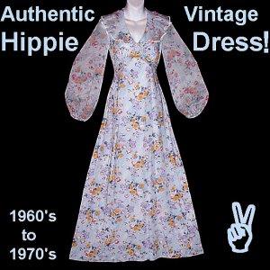 FLORAL FAIRY VINTAGE Dress HIPPIE Maxi Gown ROMANTIC Fem Long POOFY POET Sleeves FLOOR LENGTH Sz-S!