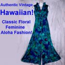 SALE~AUTHENTIC 70s Vintage HAWAIIAN PALAZZO Maxi Gown BRILLIANT FUN FLORAL Pantsuit Tall Sz Small-S!