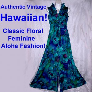 AUTHENTIC 70s Vintage HAWAIIAN PALAZZO Maxi Gown BRILLIANT FUN FLORAL Pantsuit Tall Sz Small-S!