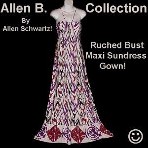 Hippy Glam Dress ALLEN SCHWARTZ Maxi Gown FLOOR LENGTH Summer-Fall Day-Evening A.B.S. Sz XS-S!