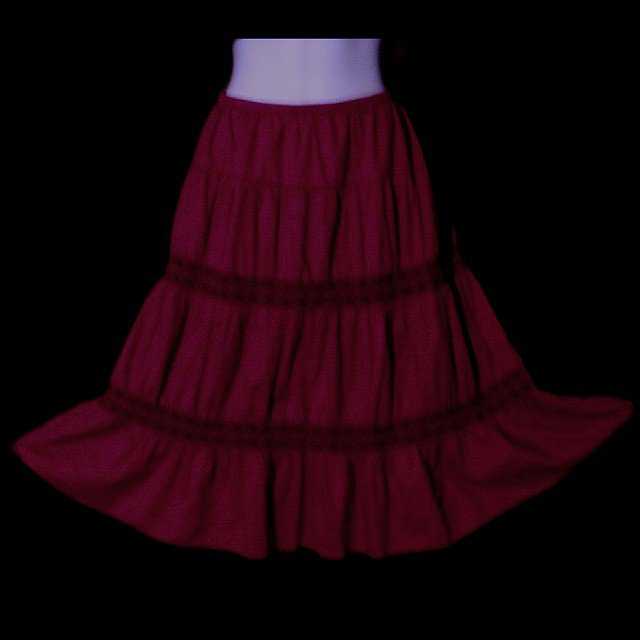 BURGUNDY WINE Vintage BOHO HIPPIE SKIRT Midi Length Tiered SWEEPING BOHEMIAN Beauty Sz S-M!