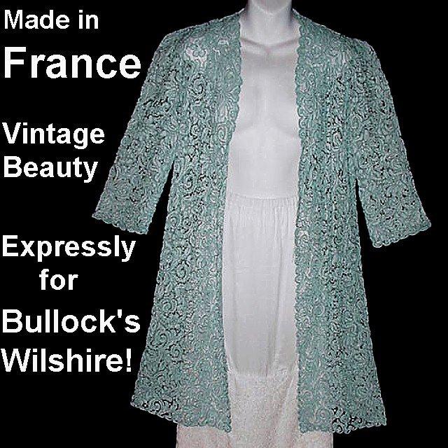 SALE! Vintage Jacket Duster Cover Up BULLOCK'S WILSHIRE Made in FRANCE Blue Lace Soutache Sz S-M!