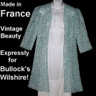 SALE! Vintage Jacket Duster Cover Up BULLOCK'S WILSHIRE Made in FRANCE Blue Lace Soutache Sz S-M!
