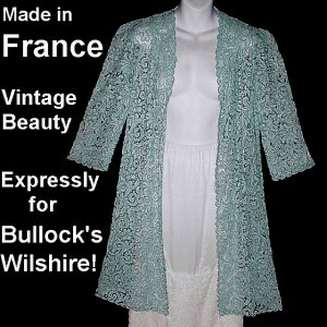Vintage Jacket Duster Cover Up BULLOCK'S WILSHIRE Made in FRANCE Blue Lace Soutache Sz S-M!