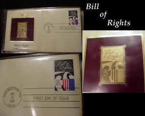 ENCASED Vintage 22KT GOLD and Proof STAMP Collection of 22 PIECES and Binder SPECTACULAR Stamps!