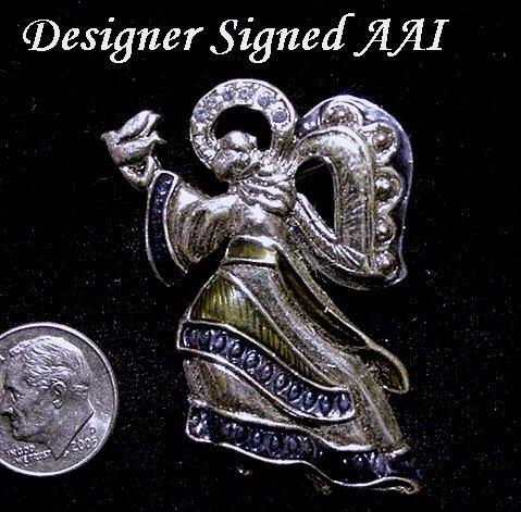 ANGEL BROOCH Blue Vintage RHINESTONE w/Enamel Signed AAI Silver Plate Pin Sparkly SWEET!