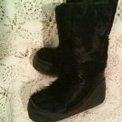Italian Vintage Goat Fur Apres Ski Boots Black Bigfoot Yeti Sasquatch Leather sz 6/7 ITALY!