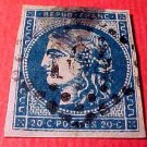 France Scott #43a A9 20c Ceres Bordeaux Issue Cancelled