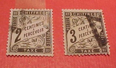 France Scott #J12 2c & J13 3c D2 Postage Due 1882-1892