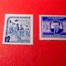 """German Democratic Republic Scott's set #98&99 A27&28""""Cyclists"""" & """"Gottwald"""" 1952"""