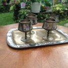 Mexican Mother of Pearl inlay Cordial Set with Tray