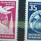 "German Democratic Republic Scott's set #118-19 A34"" Globe and Dove"" Dec.8 .1952"