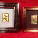 "Gold 23kt Gold Leaf Set of 2 ""Roses"" Oro Foglio Art Signed by Emilio Pane"