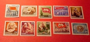 "German Democratic Republic Scott's set #137-144 A36-A39 ""Karl Marx "" 1953"