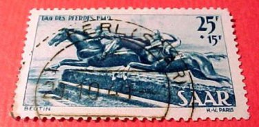 Saar Stamp B68- SP35 Jumpers 15fr+5f Sept 25,1949