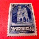 """France B74 SP33 """"Reims Cathedral"""" M/NH/OG July 10,1938"""