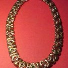 Designer Choker-Necklace Gold Colored w/ Faux Emeralds, Rubies and Saphires