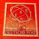 "German Scott's set #9N68 ""Statue of Atlas"" Eurorean Recovery Plan Oct.1,1950"