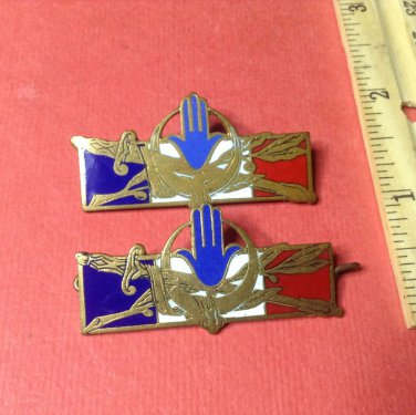 Vintage Enameled French Militaire pins by Drago of Paris #1314 set of 2