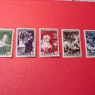 Saar Stamp set Scott# B84-88 SP43 Nov.3,1951 precancel