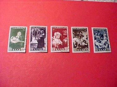 Saar Stamp set Scott# B84-88 SP43 Nov.3,1951 precancel