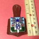 Vintage Enameled French Military Badge Pin from Drago H638 with Leather Support
