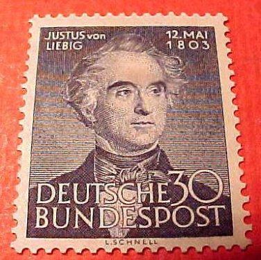 """German Scott's #695 A146 """"Justus von Liebig"""" May 12,1953"""