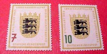 "German Scott's set #729-30 A158 ""Arms of Baden-Wurtenberg"" June 1,1955"