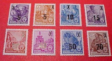 """German GDR Scott's Full set #216-223 A43 """"Types of 1953 Redrawn"""" and surcharged!"""