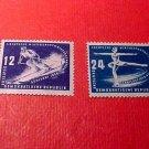 "German Democratic Republic Scott's # 51&52 ""Skier and skater"" Mar.2,1950"