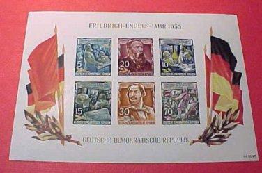 """German GDR Scott's 264a A74 Souvenier sheet""""Friedrich Engels"""" Nov.7,1955"""