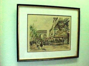 Vintage Les Champs Elysees et L'Arc de Triomphe signed by Herbelot
