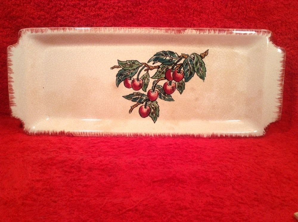 Vintage Longwy Faience Cherries & Leaves Serving Tray / Platter circa 1930