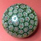 Vintage Green White Red Millefiori Art Glass Murano Paperweight, #13