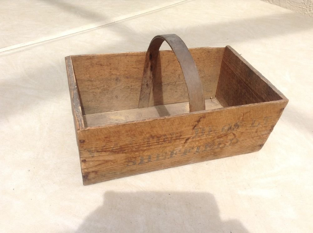 Antique Wooden Produce Carrier from Sheffield, England