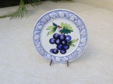 Large Vintage Italian Raised Majolica Grapes and Leaves Plate #60