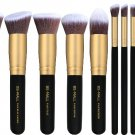 Premium Synthetic Makeup Brush Set (10pcs, Golden Black)