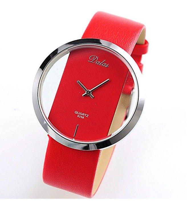 Red Leather Transparent Dial Fashion Lady Girl Wrist Quartz Watch