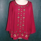 NWT Bob Mackie Wearable Art blouse shirt tunic Top Embroidered L